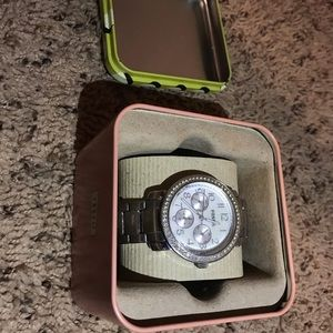 Women's Fossil Watch - Diamond, Silver, Pearl Face